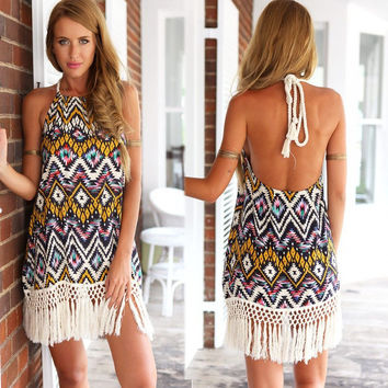 Halter Tribal Print Tasseled Boho Dress