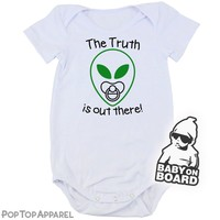 Baby's Printed Bodysuit - Alien with a Binky/Pacifier