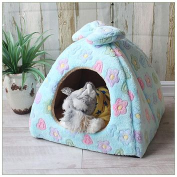 Foldable Dog House Mat Cat Litter Teddy Pomeranian Puppy Tent Kennel Nest Small Medium Dog Chihuahua Mongolian Yurts Pet Bed