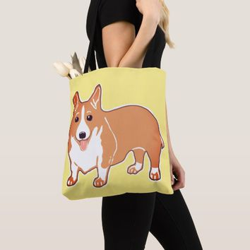 Welsh Corgi Happy Yellow Tote Bag