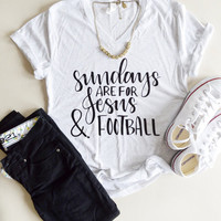 Jesus and Football - Christian Tee - Woman Football Shirt - Jesus Shirt - Sunday Shirt - Mom Shirt - Football - Faith - Tops