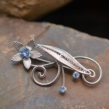 Van Dell Signed Sterling Silver and Blue Rhinestone Pin