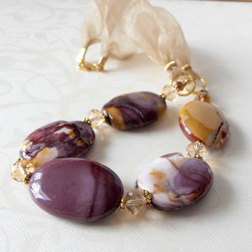 Chunky Necklace Amethyst and Mustard Yellow by FiveLittleGems