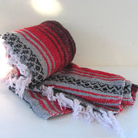 Vintage red and black Mexican Striped Ethnic Lap Blanket