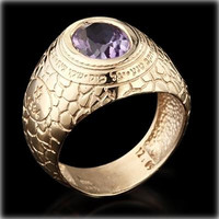 Men's Kabbalah Rings - Ana BeKoach Gold Kabbalah Ring with Amethyst for Men