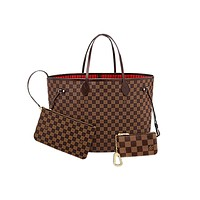 Free shipping-LV classic chessboard female shopping bag messenger bag three-piece