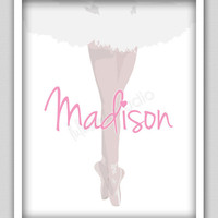 8 x 10 Wall Decor Print, Modern Home Decor, Girls Print, Ballerina Print-Ballerina Print with Personalized Name