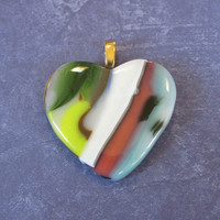 Glass Heart Pendant, Colorful Jewelry, Hand Crafted Pendant, Bohemian Jewelry - Isabella - 4193 -3