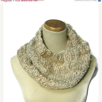 On Sale Sale Beige Hand Knit Cowl/Infinity Scarf