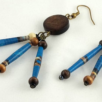 Blue Paper Bead and Wood Earrings by theotherstacey on Etsy