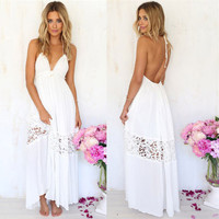 White Halter Neck Backless Cutout Lace Maxi Dress