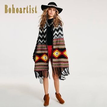 Women Black Cape Autumn Geometric Print Patchwork Tassel Wrapped Clothing New Ladies Bohemia Long Scarf Capes
