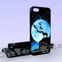 Peter Pan Quote - Wolf at a moon - Print on Hard Cover - iPhone 5 Case - iPhone 4/4s Case - Samsung Galaxy S3 case - Samsung Galaxy S4 case