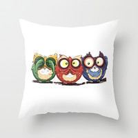 Hear No Evil The Hoot Owls Throw Pillow by LGD.