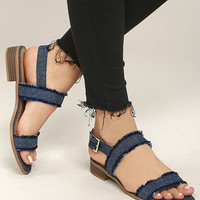 Elin Dark Blue Denim Heeled Sandals