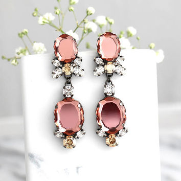 Blush Earrings, Bridal Blush Earrings, Blush Chandelier Earrings, Bridal Dark Pink Long Earrings, Blush Rose Swarovski Crystal Chandeliers