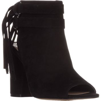 Vince Camuto Catinca Peep-Toe Ankle Boots, Black Suede, 8 US / 38 EU