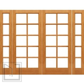 Pre-hung 10-lite French Brazilian Mahogany IG Glass Double Door Sidelights