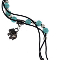 Elephant Charm Faux Leather Ankle Bracelet