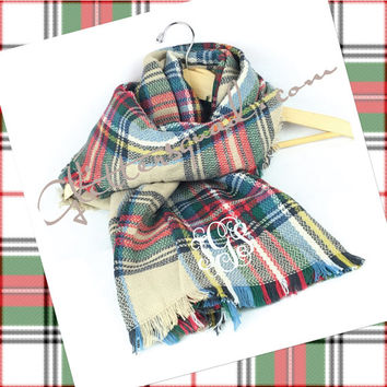 Trendy 2015 - 2016 Tan / Brown Tartan Scarf / bride gift / gift for wife / Scarf Wrap /Plaid Blanket Scarf / zara style / Winter Scarf