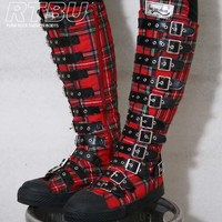 Gothic Punk Steampunk LARP Buckle Strap Gear Knee Boot