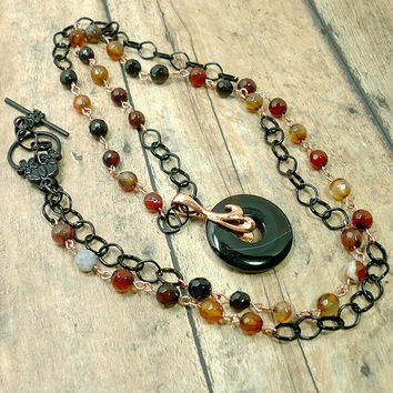 Natural Multi-color Agate, Black Chain, Copper 32 in Handmade Necklace
