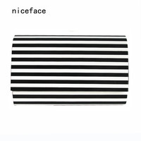 2017 new designer handbag noble women messenger bag unique wallet vintage Black White Striped Clutch Woman acrylic evening bag