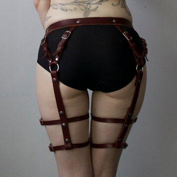 Oxblood Garter Harness - Bondage Leg Harness, Garter Belt