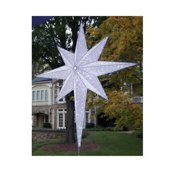 "48"" LED Lighted White and Silver Moravian Star Commercial Christmas Tree Topper Decoration"