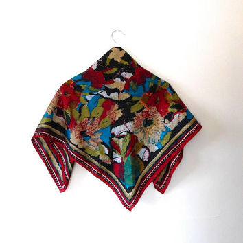 Bold painted floral scarf / butterfly / colourful / red / rust / aqua / gold / vintage / gift / silky / wrap / shawl / large square scarf
