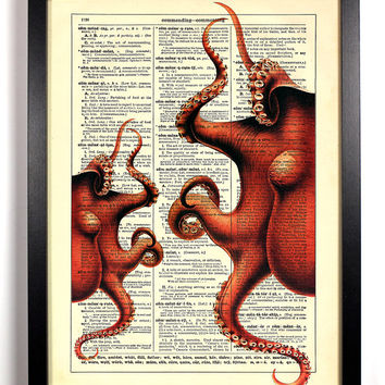 Octoparty, Vintage Dictionary, 8 x 10