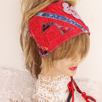 Red Headband, Red Boho Head, Hippie Headband, Wear Red Festival, Red Dread Band, Dread Wrap Women's Christmas gift, Intergalactic Clothing