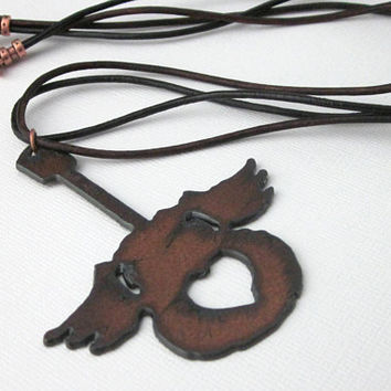 Rust Steel Guitar Pendant, Guitar Pendant, Guitar Necklace, Guitar With Wings Pendant, Guitar With Heart, Large Guitar Pendant
