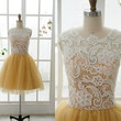 Lace Tulle Bridesmaid Dress Prom Dress Yellow Tulle Dress Knee Short Dress