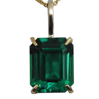 Emerald shaped lab created Emerald Top Quality Green 10x8 mm set in Pendant with Bail 7mm