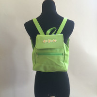 Daisy Lime Green Mini Backback // 90s kid clubkid soft grunge festival spice girls coachella burning man rave neon