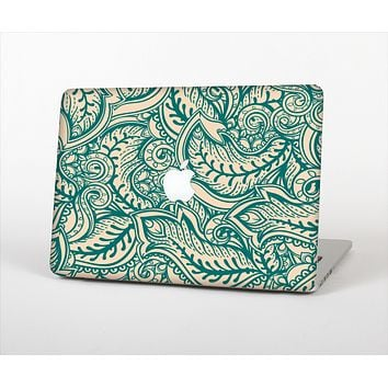 The Delicate Green & Tan Floral Lace Skin Set for the Apple MacBook Pro 15""