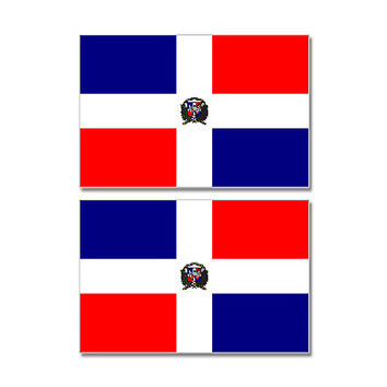Dominican Republic Country Flag Sheet of 2 Stickers