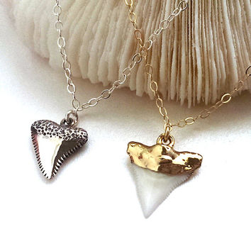 Shark Tooth Necklace, Sterling Silver or Gold Dipped, Summer, Beach Necklace, Beach Theme, Ocean, Seaside, Layering Necklace, Sharkweek