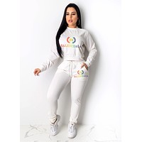 BALENCIAGA Newest Women Casual Rainbow Letter Print Top Pants Trousers Set Two-Piece Sportswear