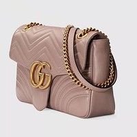 Gucci women's stylish leather shoulder bag beautifully F Purple