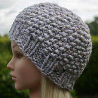 Hand Knit hat- Women's hat- White- Ivory tweed Beanie hat- winter hat- Rustic Mega Chunky with wool- women accessories