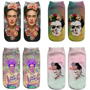 New 3D printing women socks Frida Kahlo beautiful cartoon SOX meias Funny fashion unisex low ankle warm animal Socks