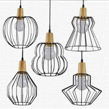 LOFT Vintage lamp pendant light  wood and Iron Industrial style indoor lighting  ceiling restaurant bar light fixture