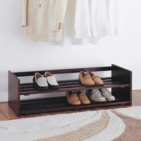 Organize It All 2-Tier Mahogany Stackable Shoe Rack