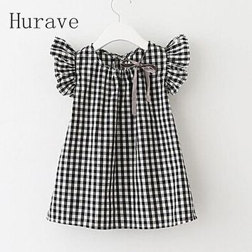 Summer Style  Fashion Black White Plaid Girl Dresses Puff Sleeve Baby Kids Clothing Casual Girl Dress Vestidos