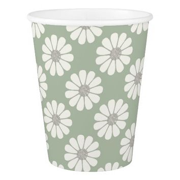 White Daisies patterns Paper Cup