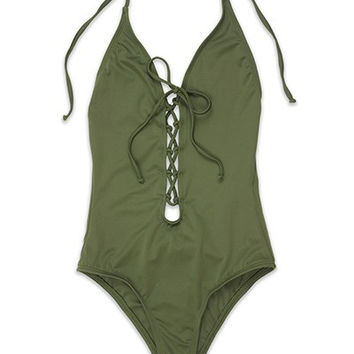 Front Laced Olive One Piece Swimsuit