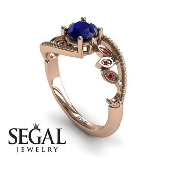 Unique Engagement Ring 14K Red Gold Leafs And Branches Victorian Ring Filigree Ring Sapphire With Ruby - Audrey