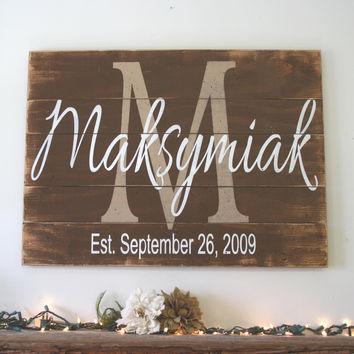 Personalized Name Sign Family Name Sign Monogram Sign Pallet Sign Rustic Wood Sign Wedding Gift Bridal Shower Gift Housewarming Gift